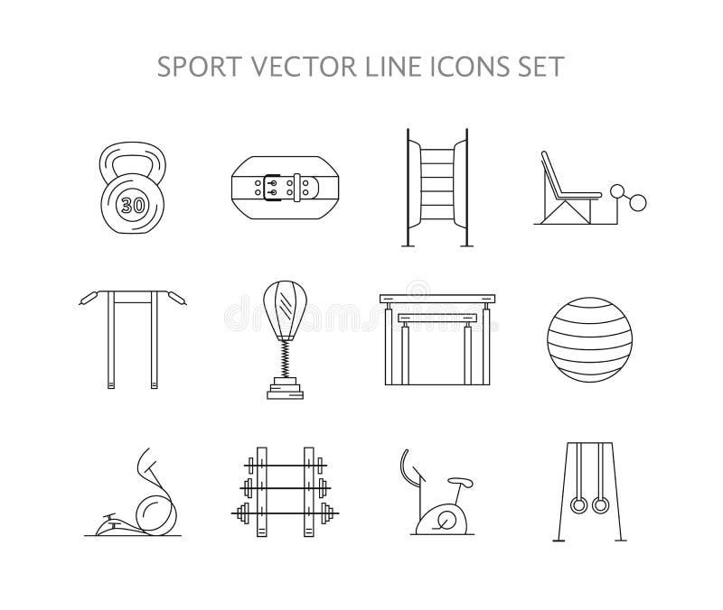Training en gymnastiek geplaatste opleidingspictogrammen vector illustratie
