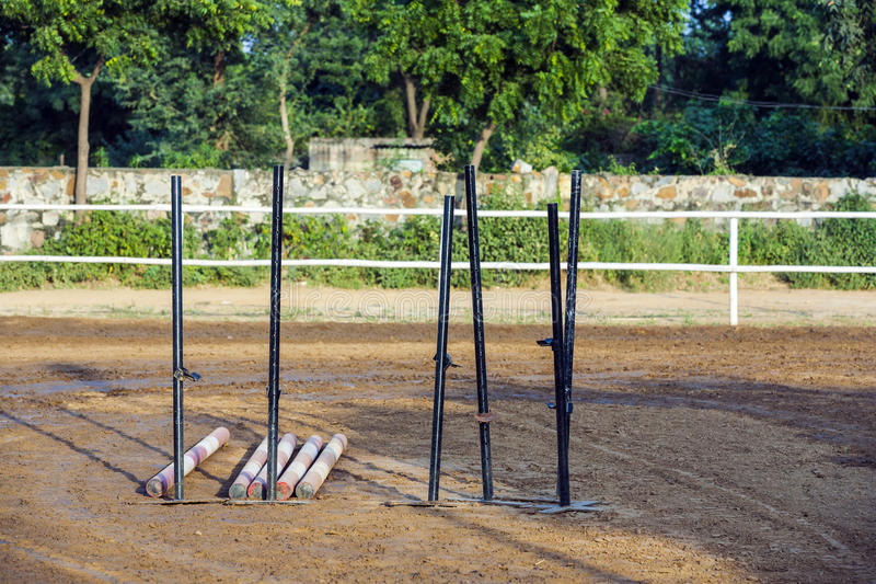 Training equipment for horse jumping. In the parcours royalty free stock images
