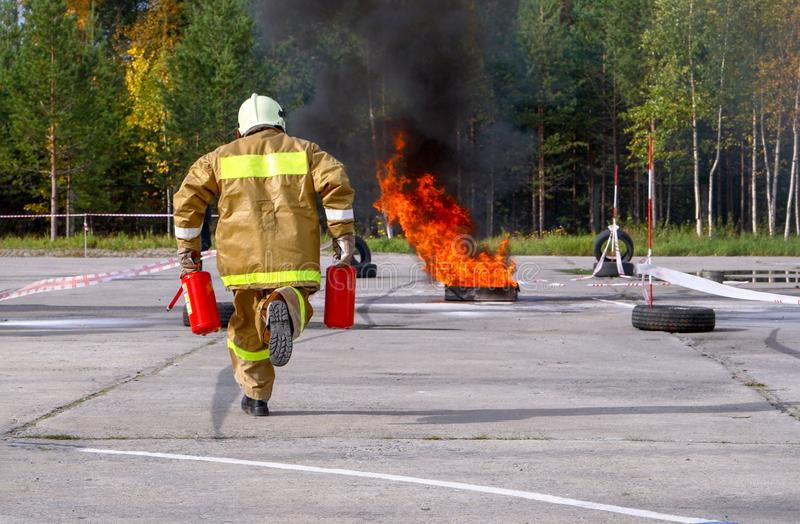 Firefighters at the exercises royalty free stock photo
