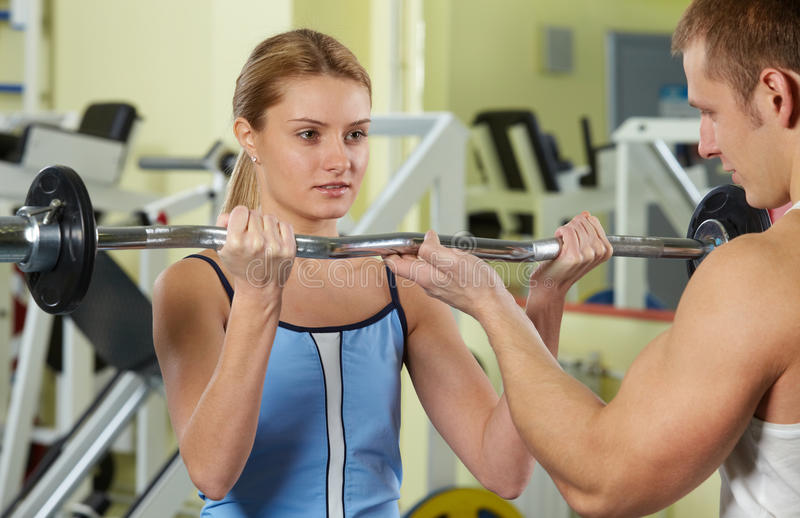 Training in gym stock photos