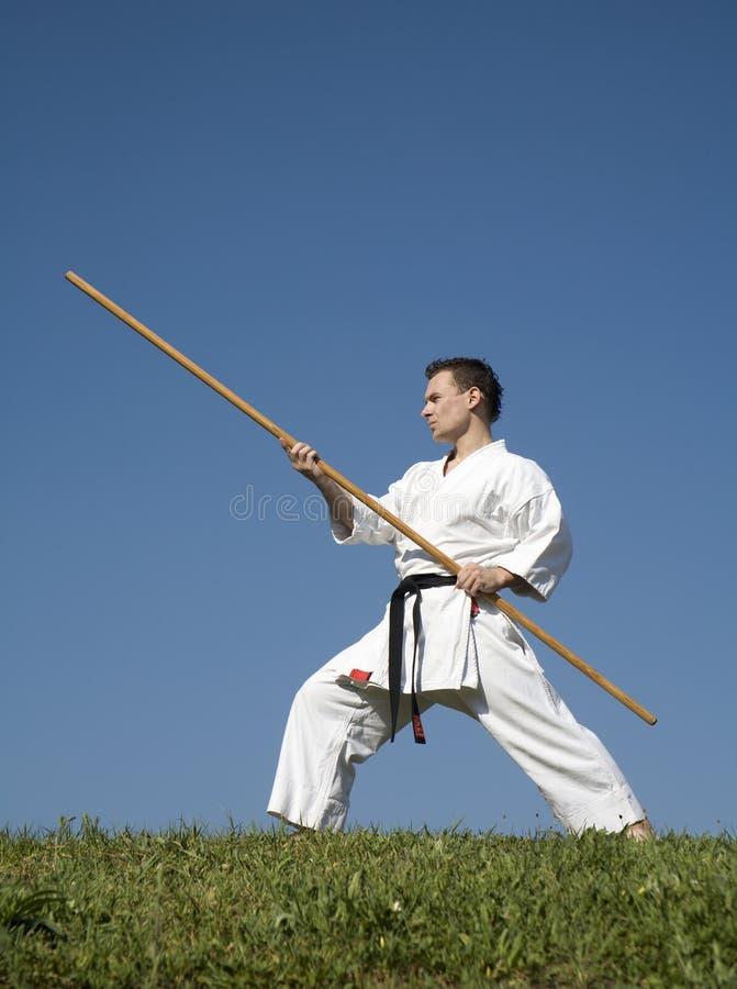 Training of karate champion - kata stock images