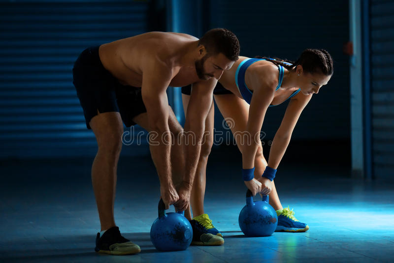 Training by kettlebell stock image