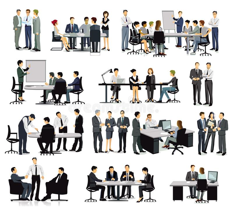 Training, Meeting and discussion in the group. Illlustration royalty free illustration