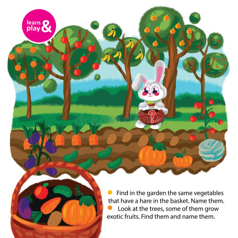 Training memory task for children. Find a vegetable thats not in hares basket. Name all vegetables from garden. Name all royalty free illustration