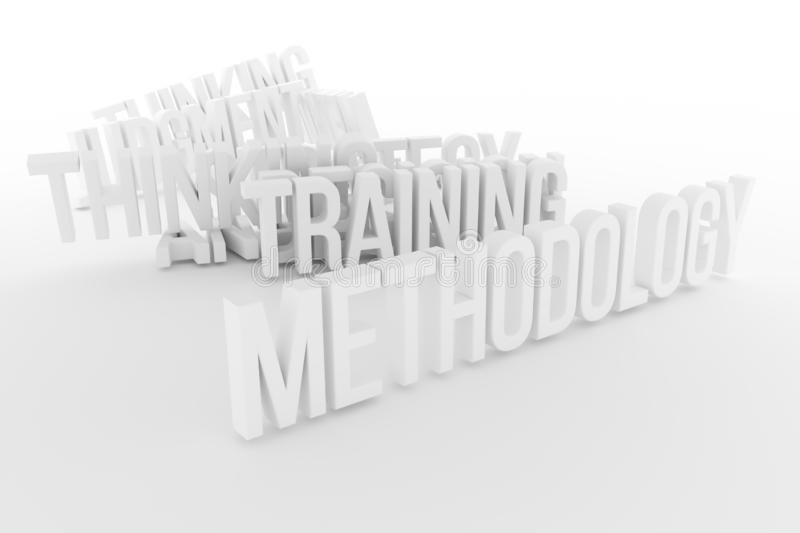 Training, Methodology, business conceptual gray or black and white B&W 3D rendered words. stock illustration