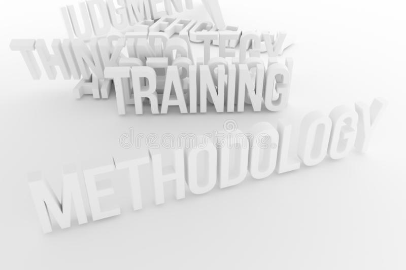 Training, Methodology, business conceptual gray or black and white B&W 3D rendered words. Digital, artwork, design & cgi. Training, Methodology, business stock illustration