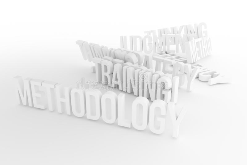 Training, Methodology, business conceptual gray or black and white B&W 3D rendered words. Message, backdrop, web & wallpaper. Training, Methodology, business vector illustration