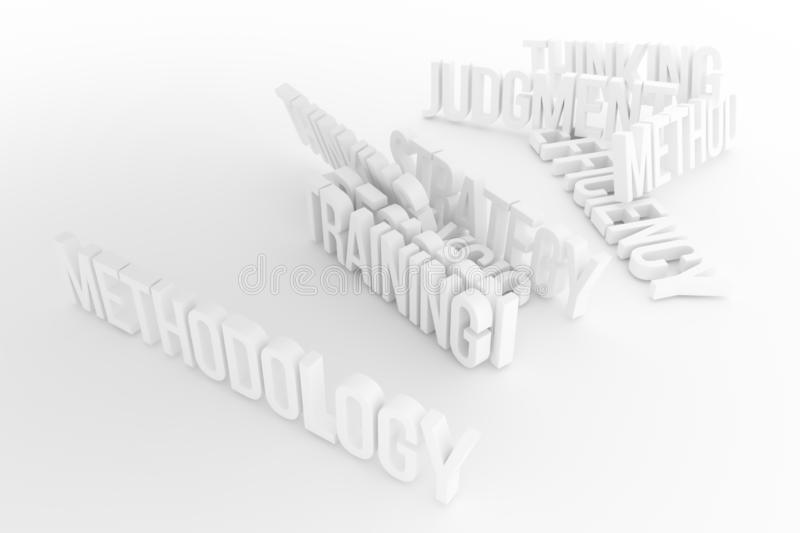 Training, Methodology, business conceptual gray or black and white B&W 3D rendered words. Web, caption, rendering & style. Training, Methodology, business stock illustration