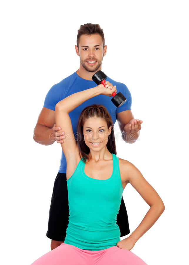 Training with my personal trainer stock photo