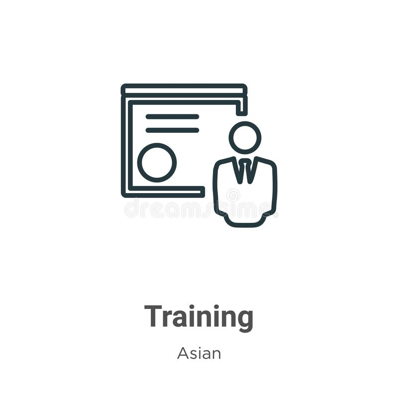 Free Training Outline Vector Icon. Thin Line Black Training Icon, Flat Vector Simple Element Illustration From Editable Asian Concept Stock Image - 167222641
