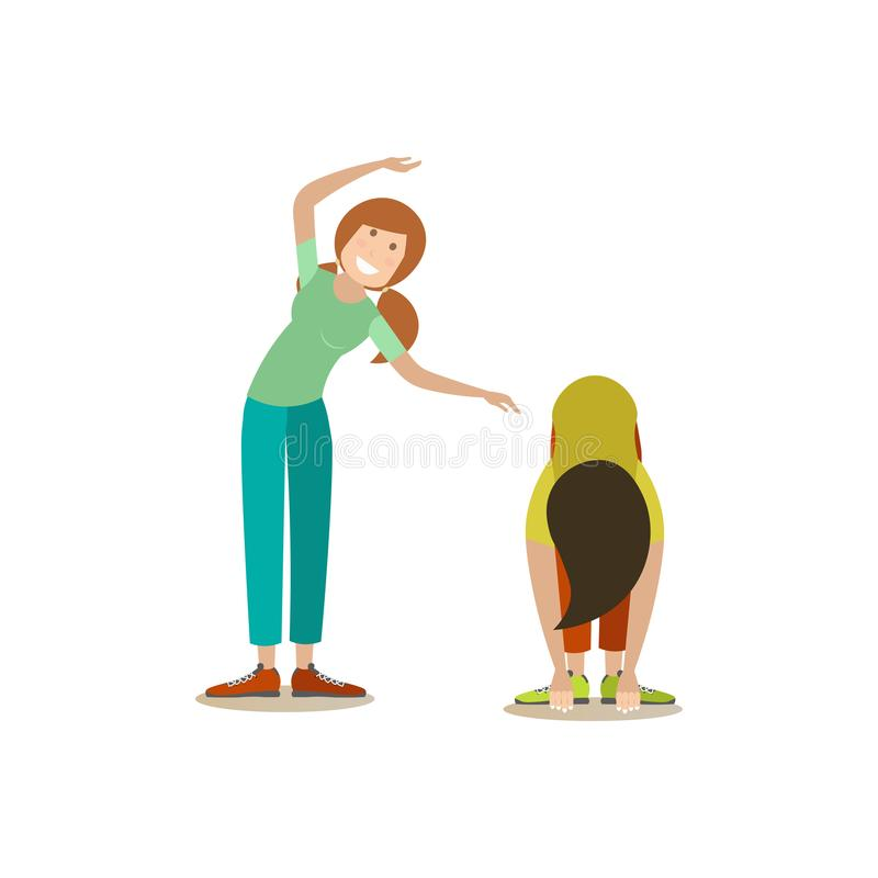 Training outside people vector flat illustration stock illustration