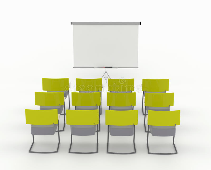 Training room with marker board and chairs stock photo