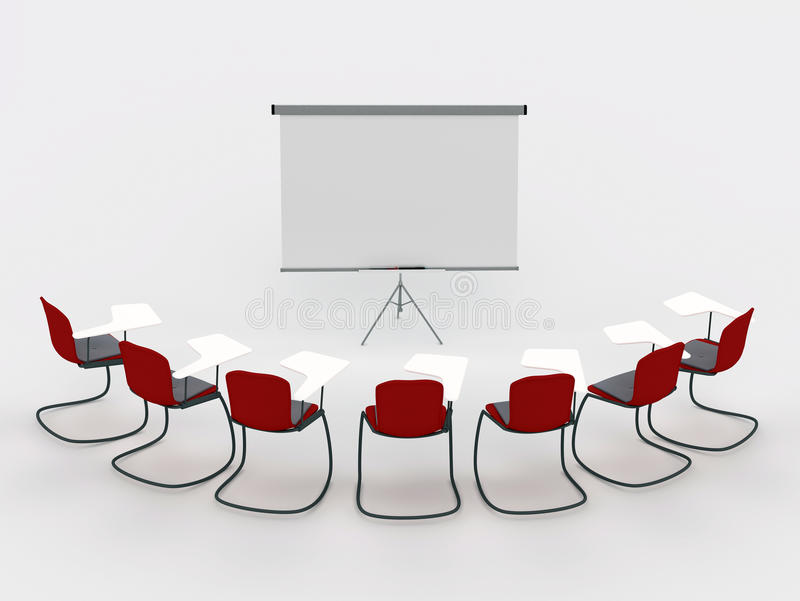 Training room with marker board and chairs vector illustration