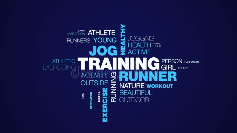 Training runner jog healthy jogger lifestyle fit fitness sport exercise female animated word cloud background in uhd 4k royalty free stock image