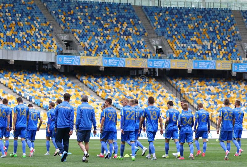 Training session of Ukraine National Football Team in Kyiv. KYIV, UKRAINE - JUNE 2, 2017: Open training session of Ukraine National Football Team at NSC stock photo