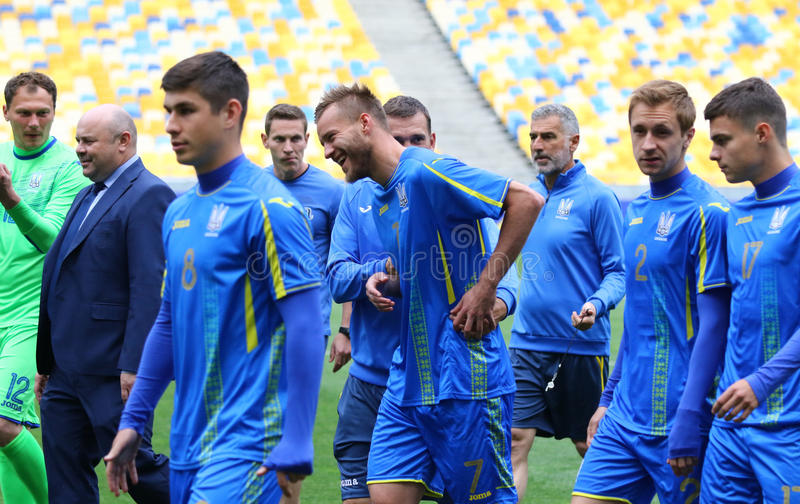 Training session of Ukraine National Football Team in Kyiv. KYIV, UKRAINE - JUNE 2, 2017: Open training session of Ukraine National Football Team at NSC stock images