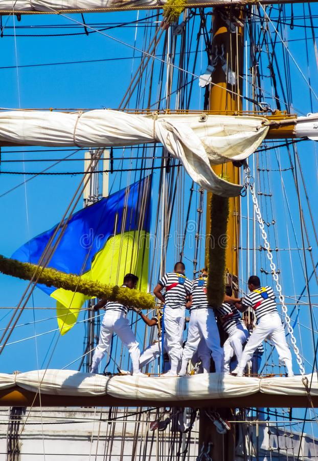 Mexican sailors work on the yards. The training ship `Cuauhtemoc` was in the port of Odessa, Ukraine. ARM Cuauhtémoc BE-01 - training sailing ship of the stock image