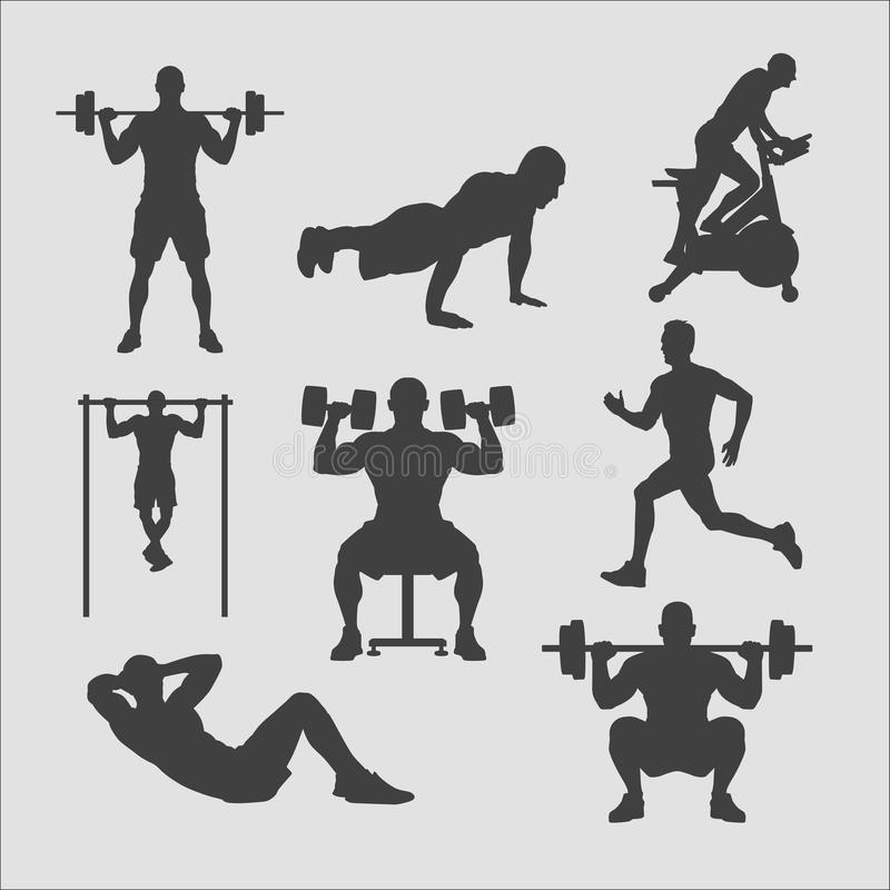 Training silhouettes collection royalty free stock photos