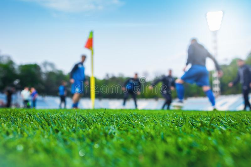 Training soccer players on football stadium. Green grass at fore. Ground. Defocused. In the lens shines backlight soffit stock image