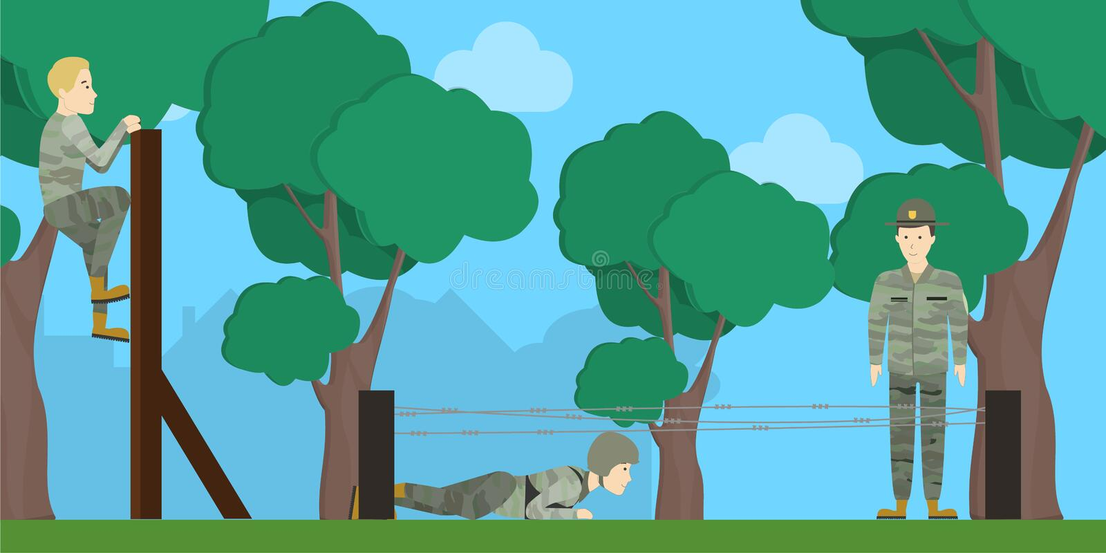 Training for soldiers. Training for soldiers in army in open air in forest. People in green camouflage vector illustration