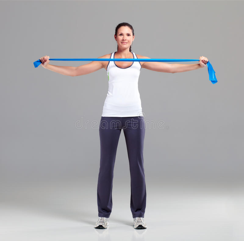 Training with Theraband 1 stock photo