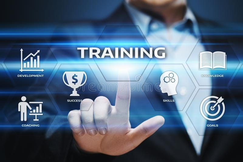 Training Webinar-E-Learning-Fähigkeits-Geschäfts-Internet-Technologie-Konzept stockfotografie