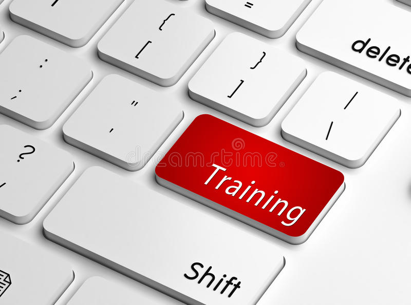Training. Word on a keyboard key in red, concept of skills enhancement and coaching royalty free illustration