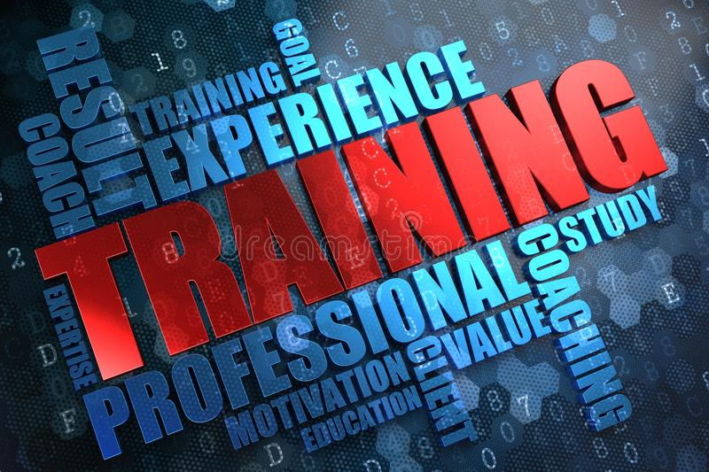 Training. Wordcloud Concept. Training - Wordcloud Concept. The Word in Red Color, Surrounded by a Cloud of Blue Words