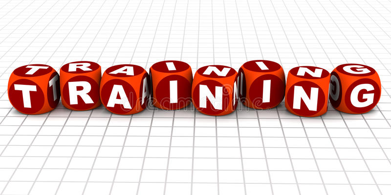 Training. Words, concept of skill enhancement, train for a job or function vector illustration