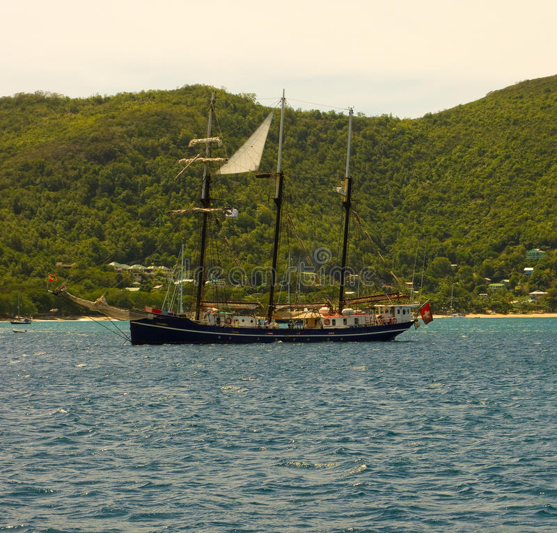 A training yacht from switzerland in the grenadines stock image