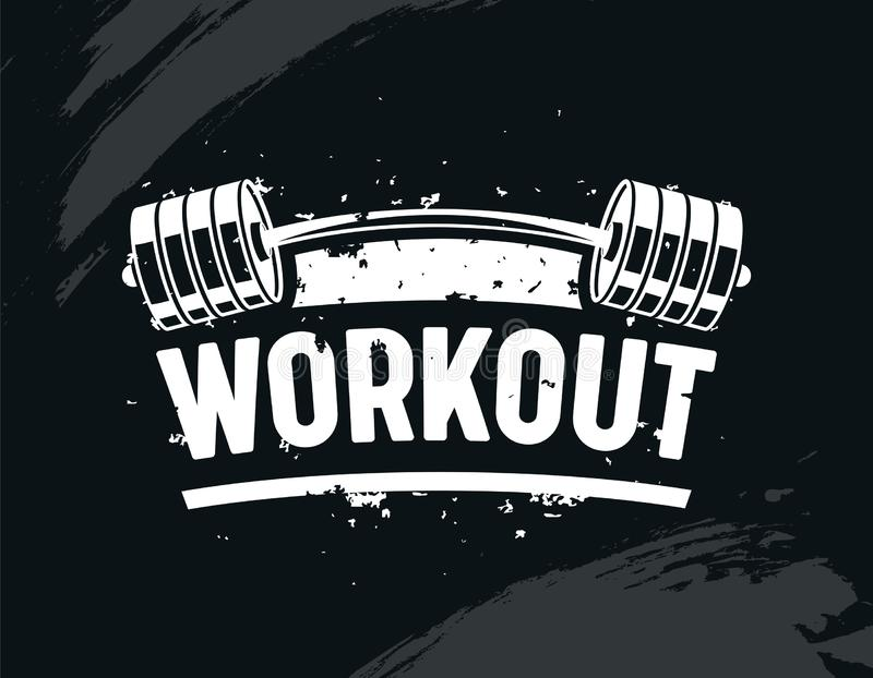 Trainings-Fahne, Übung in der Turnhalle mit Barbell, Körper-Training, kreatives Bodybuilding und Eignungs-Motivations-Konzept vektor abbildung