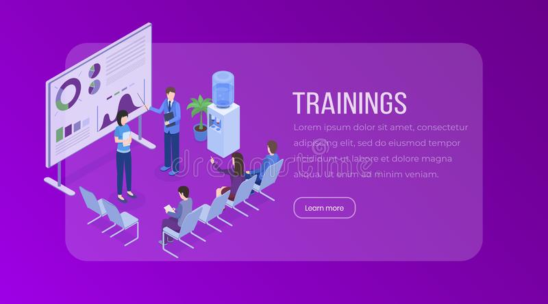 Trainings isometric landing page template. Business presentation, meeting, seminar, staff training, market research royalty free illustration