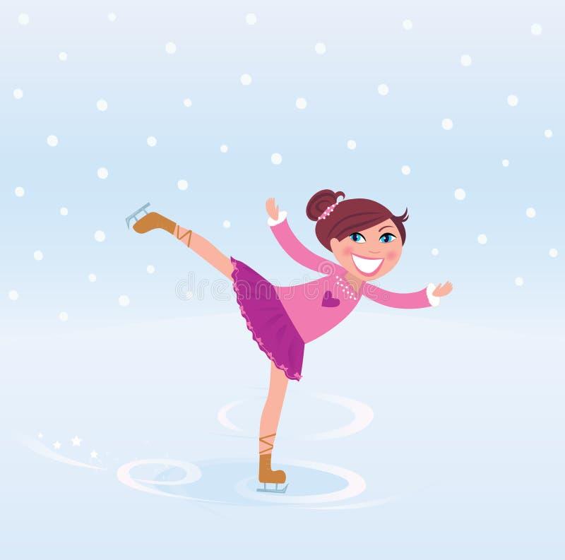Trainingseisabbildung Eislauf des jungen Mädchens stock abbildung