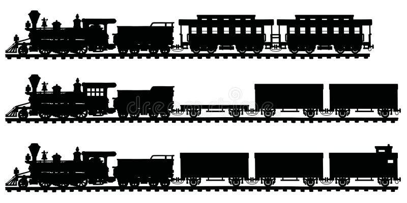 Trains américains classiques de vapeur illustration libre de droits