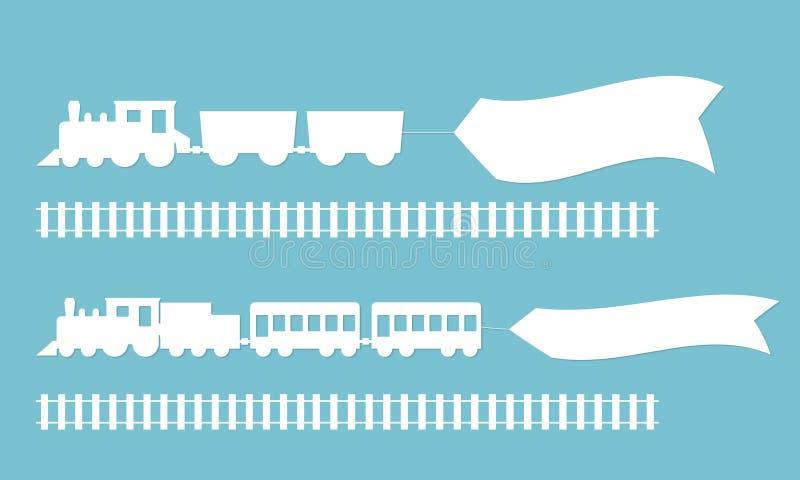 Trains avec des bannières de la publicité illustration libre de droits