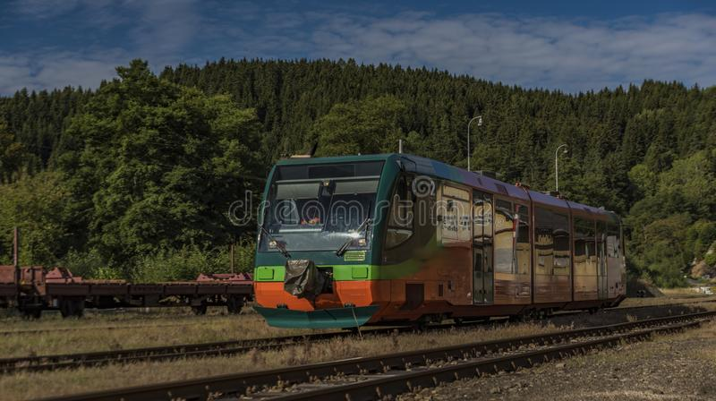 Trains in Becov nad Teplou station in west Bohemia. In summer hot morning royalty free stock images