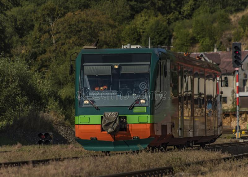 Trains in Becov nad Teplou station in west Bohemia. In summer hot morning stock photography