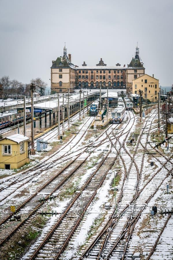 Trains en station de train de Haydarpasa à Istanbul, Turquie photo stock