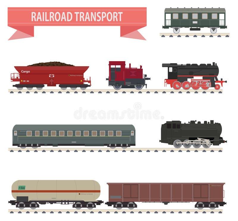 Trains. Ensemble de chemin de fer illustration de vecteur