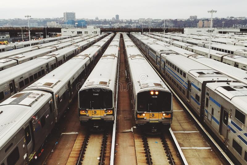 Trains Parked In The Terminal During Daytime Free Public Domain Cc0 Image