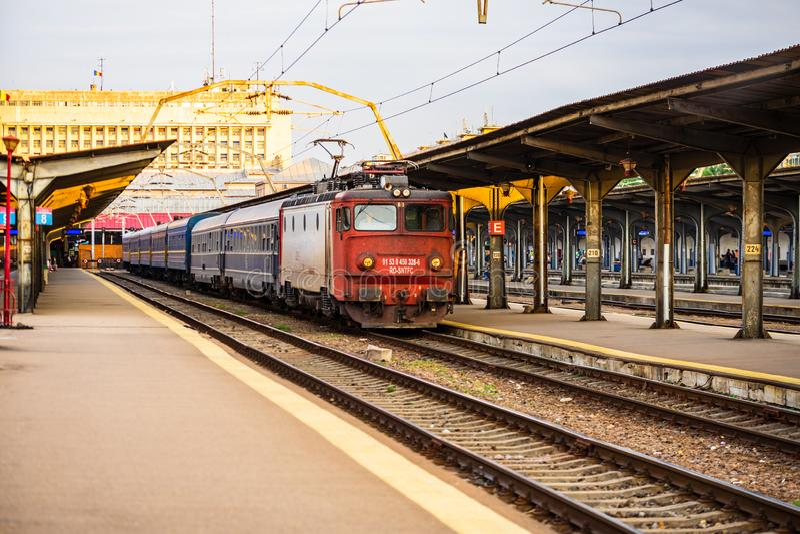 Trains on the platform of Bucharest North Railway Station Gara de Nord Bucuresti in Bucharest, Romania, 2019.  stock photo