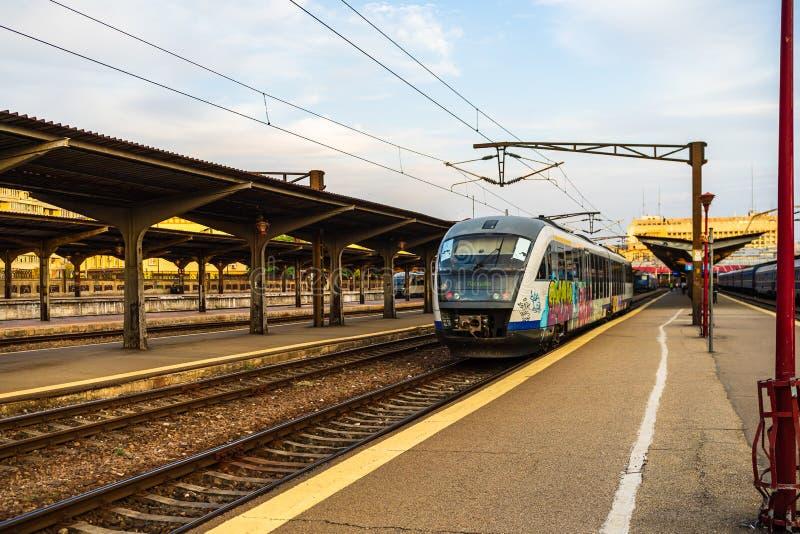 Trains on the platform of Bucharest North Railway Station Gara de Nord Bucuresti in Bucharest, Romania, 2019.  stock image