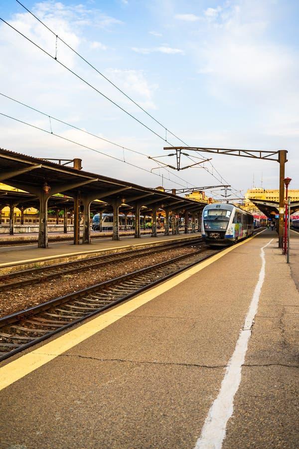 Trains on the platform of Bucharest North Railway Station Gara de Nord Bucuresti in Bucharest, Romania, 2019.  royalty free stock photos