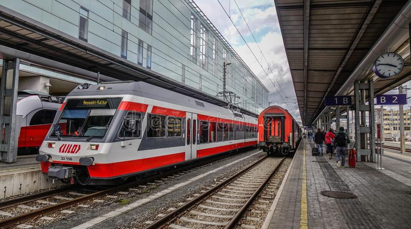 Trains at railway station in Linz, Austria. Linz, Austria - Oct 25, 2018. Trains at railway station in Linz, Austria. The railway network consists of 6,123km stock image