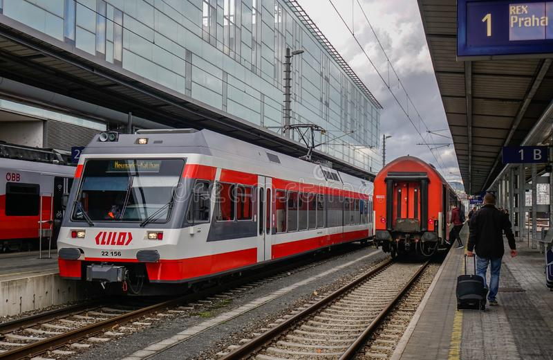 Trains at railway station in Linz, Austria. Linz, Austria - Oct 25, 2018. Trains at railway station in Linz, Austria. The railway network consists of 6,123km royalty free stock image
