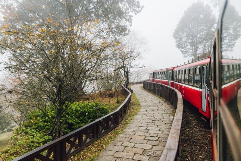 Trains rouges en mouvement en arrêt d'Alishan Forest Railway avec l'extérieur d'arbres de tache floue de mouvement dans Alishan,  image libre de droits