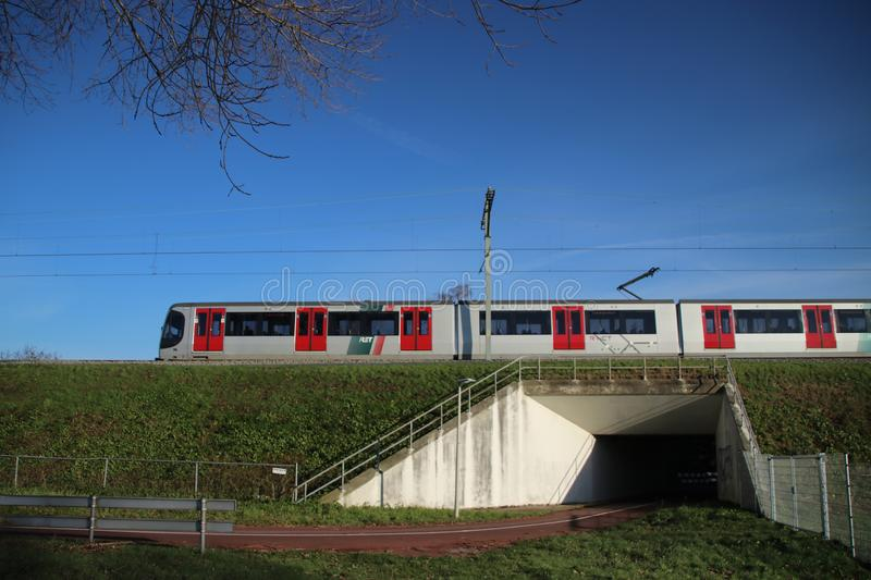 Trains of RSG3 RET Metro Randstadrail on track at Leidschenveen in the Netherlands. Trains of RSG3 RET Metro Randstadrail on track at Leidschenveen in the stock images