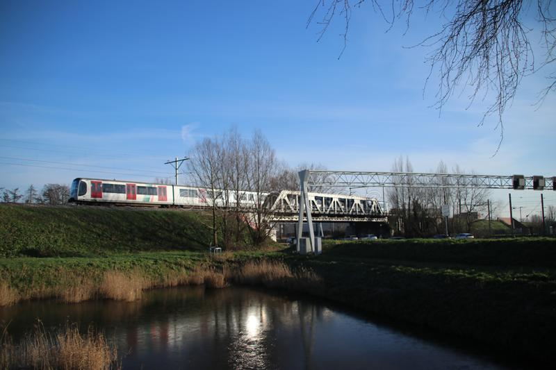 Trains of RSG3 RET Metro Randstadrail on track at Leidschenveen in the Netherlands. Trains of RSG3 RET Metro Randstadrail on track at Leidschenveen in the stock photo