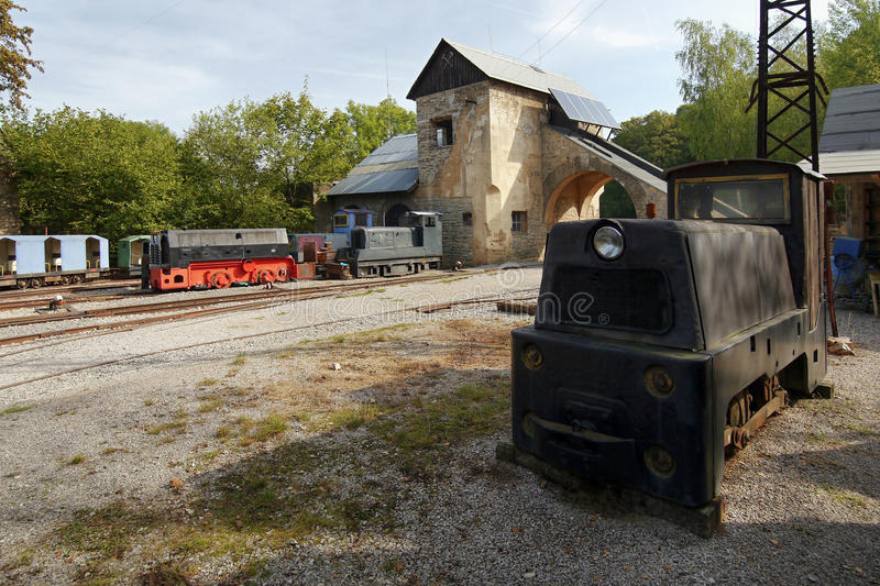 Trains and wagons in quarry royalty free stock photos