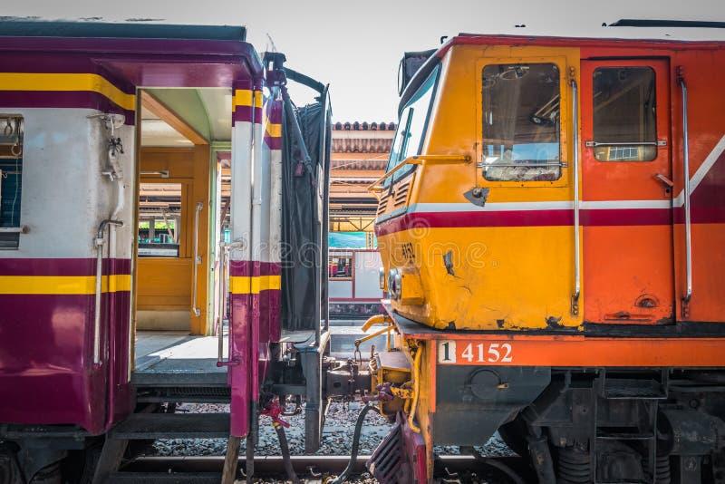 The trains are waiting passengers at platform of Bangkok Hua Lamphong Railway Station. royalty free stock photo